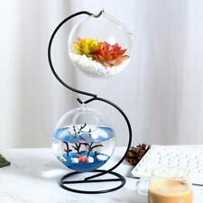 Metal Stand Glass Flower Vase Terrarium Container Fish Tank Candle Holder