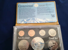 1987 New Zealand 7 Coin Proof Set with National Parks Silver Dollar E5110