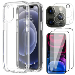 For iPhone 13 12 11 Pro Max Mini Clear Case Glass Camera Lens Screen Protector
