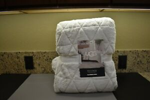 "UGG Pine Creek Quilt Set Warm Twin Bedding Oatmeal 66"" X 90"" Soft & Beautiful"