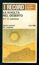 LAWRENCE T. E. LA RIVOLTA NEL DESERTO MONDADORI 1966 RECORD 26 ARABIA