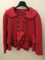 Anthropologie Charlie & Robin Red Rose Button Ruffle Cardigan Sweater - Size M