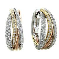 Trendy Two Tone Gold 925 Silver White Topaz Round Earring Ear Clip Women Wedding