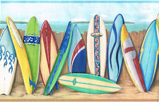 Surfboard Surf Surfing Fence Sand Beach Blue Wall paper Border York In2685B