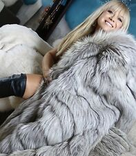 AMAZING FULL LENGTH PLATINUM SILVER FOX FUR COAT ABSOLUTELY GORGEOUS!