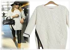 NEW Ivory Boho Chic Wool & Faux Leather Knit Sweater Zipper OS Fits Sz S M