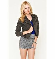 WOMEN'S/JRS SOUND & MATTER FADED BLACK MOTO JEAN JACKET NEW $68