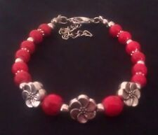 Tibetan Silver Bracelet Tahitian Flower Floral Daisy Beads Charm Vintage  TF3R