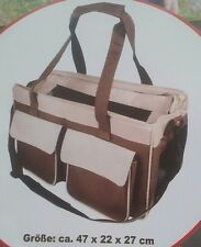 Hundetragetasche beige/braun bis 5 kg 47 x 22 x 27 cm Transport Polyester Tasche
