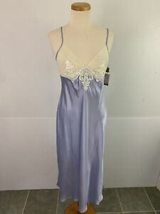 Gilligan O'Malley Luxe Women's M Nightgown Satin Shiny Lilac Long Gown Sheer Cup