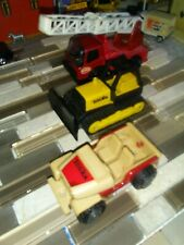 Vintage Tonka small Fire Ladder truck red, Jeep tan red & Bulldozer Yellow black
