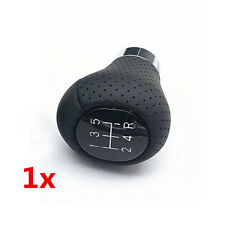 Real Black Leather 5 Speed Manual Car Gear Stick Shift Knob Shifter w/ 3 Adapter