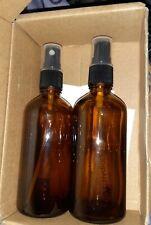 Amber Glass Spray Bottles for Essential Oils, 4oz (4 Ounce x 2|Black Amber)