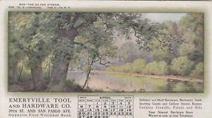 Vintage Advertising Ink Blotter OF Calendar 1913 EMERYVILLE TOOL & HARDWARE CA