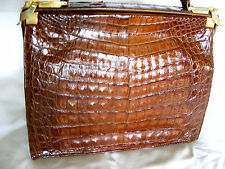 VTG Fabulous X-LARGE Brown GENUINE Crocodile Alligator Doctor Purse Hand Bag