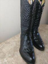 Rudel Womens Cowboy Boots 6.5E Black Crocodile Western Pointed Toe Pull On