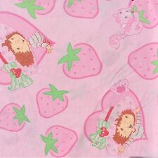 Vintage Strawberry Shortcake Sheet Fabric Pink Lime Cotton Blend