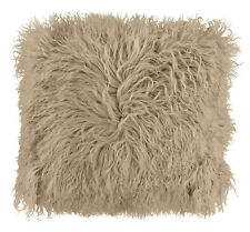 Luxurious Soft Shaggy Mongolian Faux Fur Natural Beige Cushion Cover 43 X 43 Cms