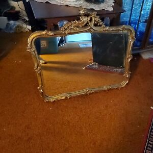 ANTIQUE ART DECO ORNATE WOOD & GESSO FLOWER GILT FRAME WALL MIRROR 33 by 31 in