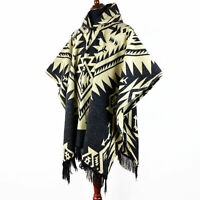 Alpaca wool Mens Unisex Hooded Poncho Aztec pattern all seasons boho hippie