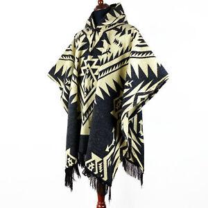 Alpaca wool Mens Unisex Hooded Poncho Aztec all seasons boho hippie Halloween