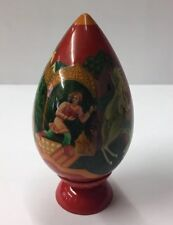 Vintage Hand Painted Russian Lacquer Egg 'Stealing Apples' 79.11mm In Height