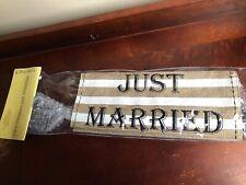 NEW Kirkland's Just Married Rustic Burlap Embroidered Wedding Yard Flag