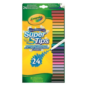 Crayola Supertips Washable Markers - Pack of 24 Multicoloured Felt Tips Pens