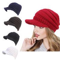 Women Winter Warm Acrylic Knitted Baggy Beret Beanie Hat Ski Visor Caps Pile Cap