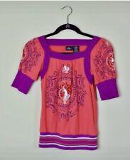 BABY PHAT Pink Purple Boho Style Print Girls Short Sleeve Top Size M (8-10) Used