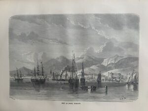 1870 View Of Port Of Spain, Trinidad Original Antique Print Over 150 Years Old