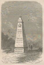 C1279 Ancien piller de démarcation ou padrao - Xilografia - 1867 old engraving
