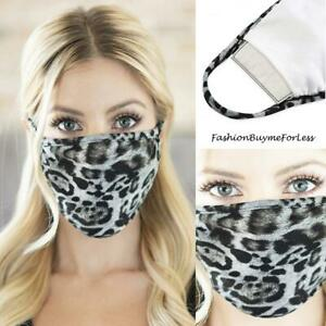 Adult GRAY LEOPARD Cotton Filter Pocket Layers UNISEX Protective Cover Face Mask