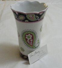 Vera Bradley Pink Elephants Pottery Vase Utensils Large Beautiful Very Rare New~