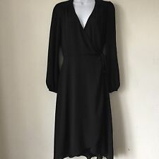 ASOS Size 10 Black Chiffon Floaty Wrap Dress Long Sleeve Modest