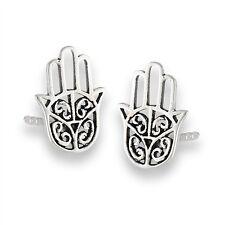 Sterling Silver Hamsa Khasma Hand of Fatima Stud Post Earrings 925