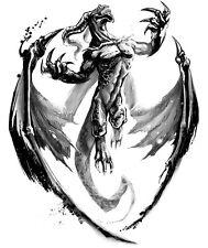 Framed Print - Black & White Dragon Demon (Picture Mythical Mythology Fantasy)