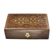 Handmade Decorative Wooden Jewelry Box With Free Lock & Key Keepsake Chest 8 #D3