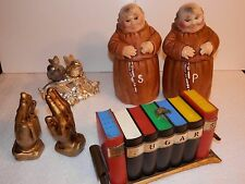 Lot 4 Vintage Salt Pepper - Monks, Love Birds, Praying Hands, Bookcase -See Pics