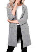 Ladies Women's Houndstooth Patterned Gingham Check Print Duster Coat Jacket Grey
