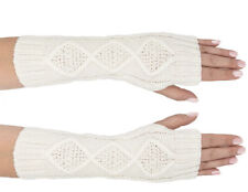 Women's Warm Fashion Knitted Fingerless Mittens Gloves (White) - NEW With Tags!