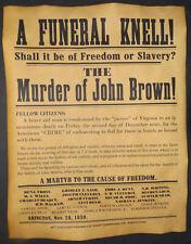 Murder of John Brown Poster, Civil War, Abolition, Anti-slavery, Abington, Mass