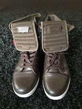 MENS LEVIS BROWN LEATHER ANKLE BOOTS SIZE 8