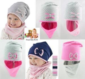 12-24 months Girls Kids Hat With Tube Scarf BEANIE 2pcs set Cotton Spring Autumn