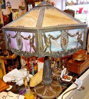 "ANTIQUE ELEGANT ALL ORIGINAL GLASS MILLER LEADED GLASS LAMP 23"" X 15"""