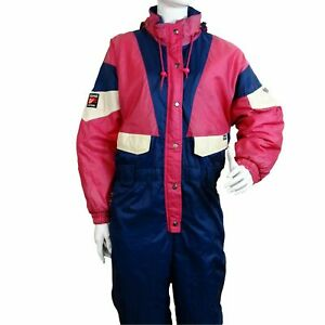 Vintage Retro Ski Suit All In One C&A Rodeo Piece 12 L Large Womens 90'S 80'S