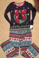 Womens Pajama PJ's Set Blue Wreath size Medium Falalala  NEW Holiday