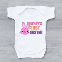 Personalised First 1st Easter Bunny Girls Baby Grow Bodysuit