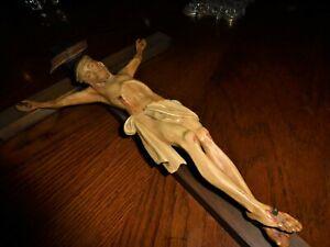 "ANRI ITALY WOOD CARVING JESUS CHRIST CROSS CRUCIFIX IN RI 21"" X 10"" AMAZING"
