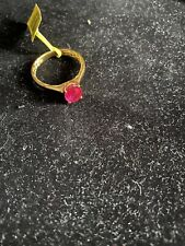 Niassa Ruby Solitaire Ring In Vermeil YG Over Sterling Silver Size 10